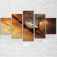 Spitfire Airplane 5 panel canvas Wall Art Home Decor Poster Picture Print