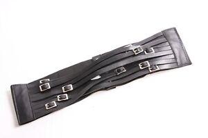 Trendy Retro Wide Black Elastic Waist Belt w Nine Skinny Belts In Front (S432)