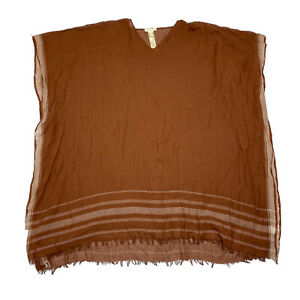 Eileen Fisher Handloomed Organic Cotton V Neck Poncho Brown One Size