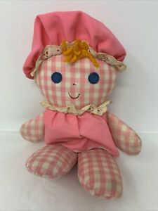 Vtg 1975 Fisher Price Lolly Doll Rattle Pink Gingham Lovey Plush Toy #420 *FLAWS