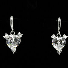 Valentine Love Heart Wedding Party 18K W Gold Plated Drop Earrings CZ Clear 535