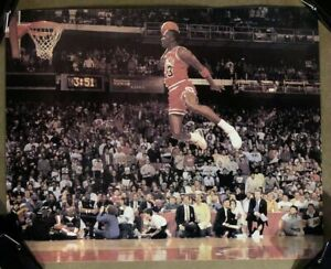 Original Vintage Poster Michael Jordan Slam Dunk Contest 1980s Chicago Bulls