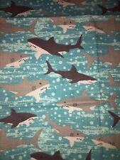 Black And Grey Sharks Fabric Scrap Quilt Sew