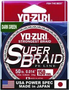 Yo-Zuri YZSB50LBDG150YD SuperBraid Line 50lb 150yd Green Boxed