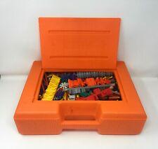 Vintage K'Nex 1992 Orange Box Hard Case filled with Knex Kinex Loaded Look