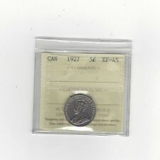 **1927**, ICCS Graded Canadian,  5 Cent, **EF-45**