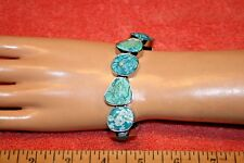 Viva Beads Stretch Bracelet Blue Turquoise Flower Pattern