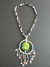 Empowering Jewelry Beaded Multicolored Necklace + Green Jelly Fish Pendant Indie