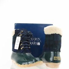Women's Sperry Top-Sider Shearwater Shoes Green Fabric Winter Boots Size 6 M NEW