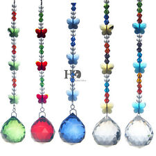 5pcs Butterfly Crystal Prism Ball Pendant Rainbow Maker Ornament Decor Gift Hang