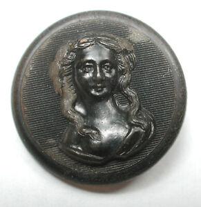 "Antique Horn Button Pretty Woman's Head Design  7/8"""