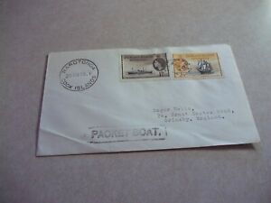 COOK ISLANDS SHIP MAIL 2 FALKLAND Isles Stamps On PACKET BOAT COVER TO ENGLAND