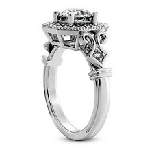 Halo Pave 1.22 Carat SI1/I Round Cut Diamond Engagement Ring 14k White Gold