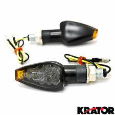 Mini Stalk Motorcycle Bike LED Turn Signal Indicators Amber Blinkers Smoke Lens