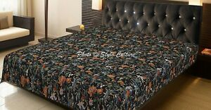 Indian Kantha Bedspread Throw Double Cotton Bird Stitched Bedding Quilt Coverlet