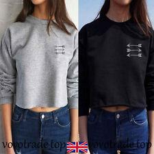 Womens Long Sleeve Sweatshirt Winter Autumn Cotton Crop Blouse Pullover Tops New
