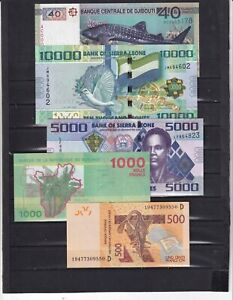 AFRICA,EXCELLENT LOT OF 5 DIFFERENT BANKNOTES,UNCIRCULATED..(REF S)