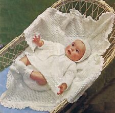 Baby vintage knitting pattern layette in 4ply. Shawl hat bootees dress cardigan