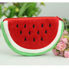 Cute kawaii fruit plush coin purse bag strawberry pink red orange water melon