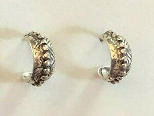 "VTG Silpada Sterling Silver Earrings Hoops Southwest Tribal .50"" 2.5g 925 #1640"