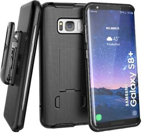 For Samsung Galaxy S8 Plus Belt Clip Holster Case, Black Shell Combo (S8+)