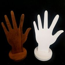 Set 2 Wood Bracelet Ring Display White Brown Multi Functional Hand Wrist Fingers