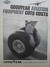 4/1966 PUB GOODYEAR AVIATION TYRE BRAKE WHEEL AVION AIRCRAFT ORIGINAL AD