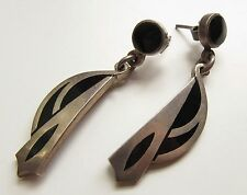 Vintage Sterling Silver Black Onyx Inlay Taxco Mexico Dangle Tribal Earrings Vtg