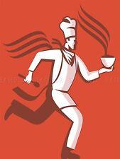 PITTURA CUOCO CHEF HOT FOOD BOWL eseguire fretta VAPORE Spoon poster stampa bmp10468