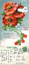 1914 BIRTHDAY GREETINGS VERSE COLOUR POSTCARD PU LONDON N