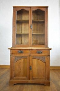 Antique oak Arts and Crafts bookcase cupboard / display cabinet