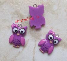 2pz  charms ciondoli in resina Gufo  25x16mm colore viola