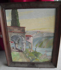 UNIQUE Vintage MH Signed Oil Painting of Woman in Mansion Framed