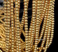 "4MM GOLD HEMATITE GEMSTONE GOLD ROUND 4MM LOOSE BEADS 16"""