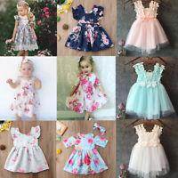 USA Baby Kids Girls Dress Toddler Princess Party Tutu Summer Floral Dress Cute