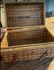 Vintage wicker basket hinged with domed lid carry handle
