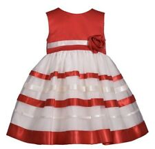 NWT Bonnie Jean 2T Toddler Girls Red And White Ribbon w Flower Dress