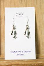 925 sterling silver earrings charm Penguin pendant pewter 1 pair Ocean Sea