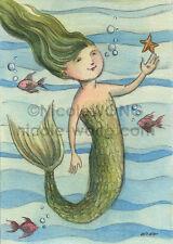 ACEO PRINT - Little Mermaid - ocean, fish, children, girl, fantasy, art, summer