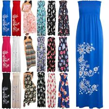 Womens Ladies Floral Printed Sheering Gathered Boobtube Bandeau Long Maxi Dress