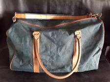 Travel Bag / Weekend Bag - Green Canvas Brown Trim - 55 Cm Wide - Shoulder Strap