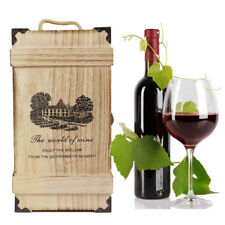 Two Bottles Wooden Wine Box Travel Carry Bag Carrier Crate Christmas Party Gift