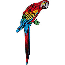 Parrot Embroidered Iron / Sew On Clothes Bag Patch Pet Macaw Bird on Perch Badge