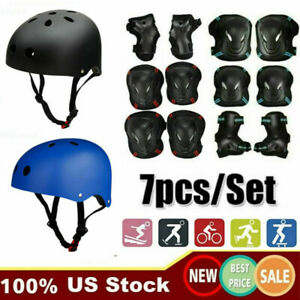 Skate Helmet Protective Gear Knee Pads Elbow Pads Wrist Guards Set for Adult Kid