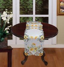 Creative Linens Sunflower Table Runner 15x69 Embroidered Cutwork Dresser Scarf