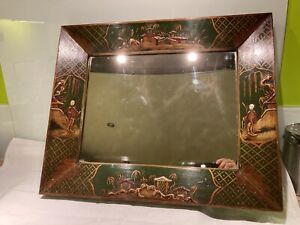 Antique Green Lacquered Chinoiserie Mirror