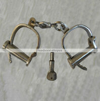 Chrome Iron Handcuffs Antique Style Police Shackles Props New Hand Cuff