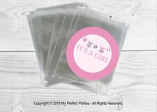 12 x Pink Washing Line, Baby shower Bags & IT'S A GIRL Stickers Favour Kit