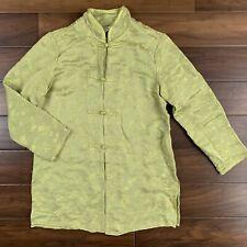 Citron Women's Size Medium Green Dragonfly Silk Blend Asian Inspired Jacket