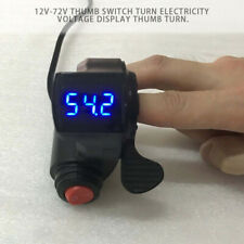 12V-72V Thumb Throttle With Power Switch LED Voltag Display For E-bike 22mm